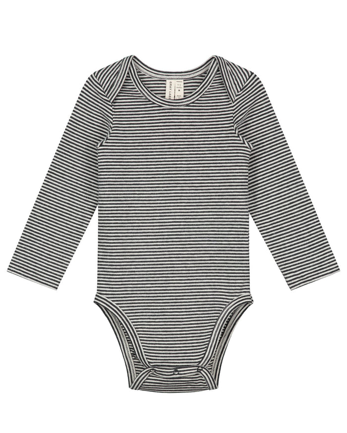 Little gray label baby boy baby long sleeve onesie in nearly black + cream stripe