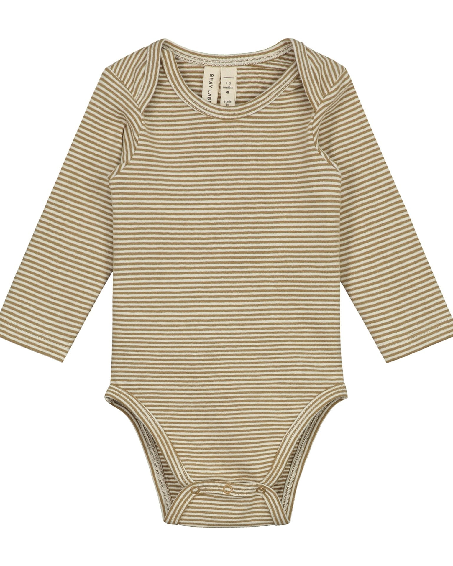 Little gray label baby girl baby long sleeve onesie in peanut + cream