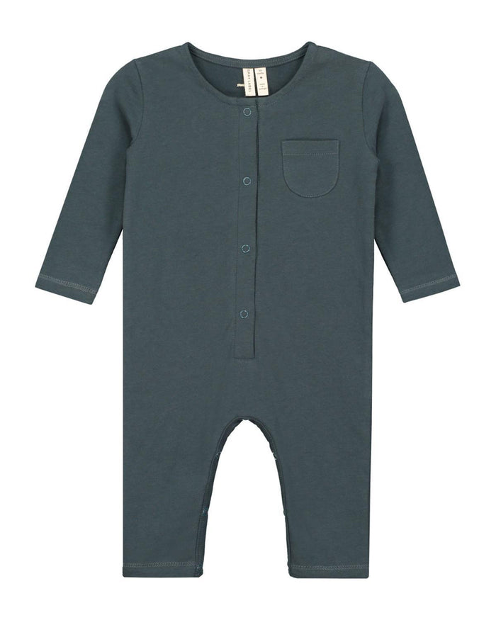 Little gray label layette nb baby long sleeve playsuit in blue grey