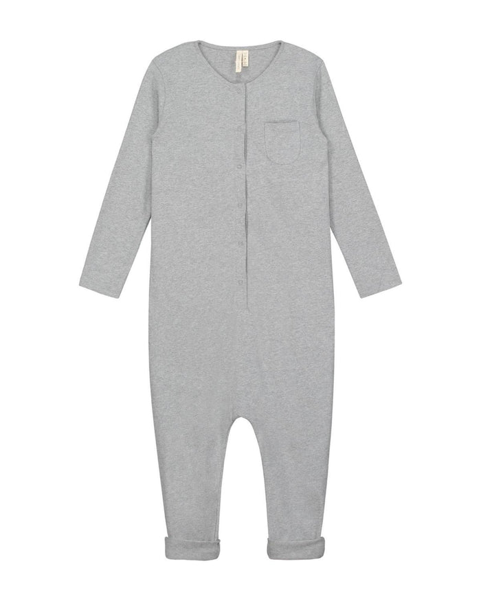 Little gray label baby boy 0-6m baby long sleeve playsuit in grey melange