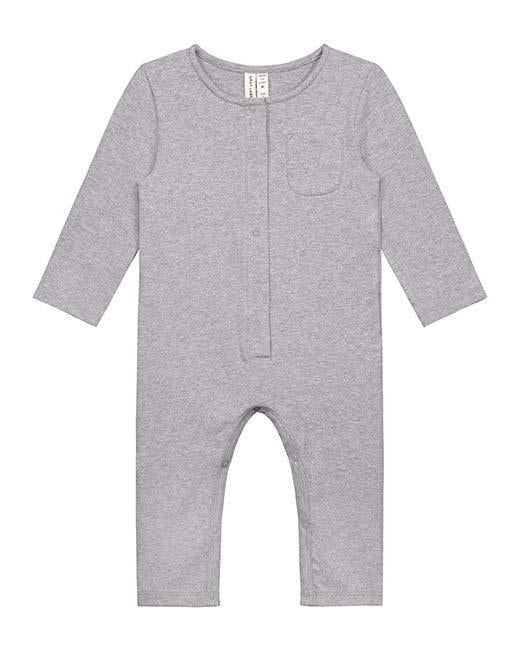 Little gray label baby boy baby long sleeve playsuit in grey melange