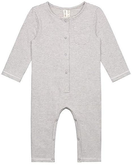 Little gray label layette baby long sleeve playsuit in grey melange + cream stripe