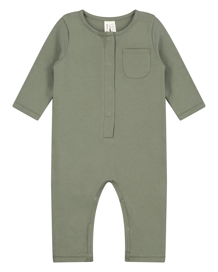 Little gray label baby boy baby long sleeve playsuit in moss