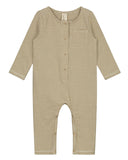 Little gray label baby girl baby long sleeve playsuit in peanut + cream