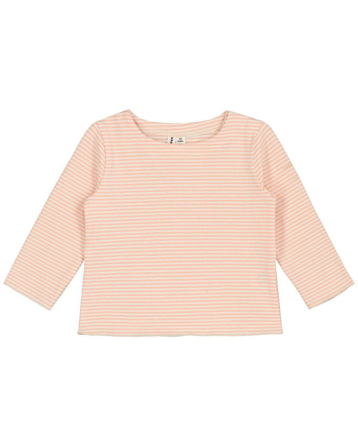 Little gray label layette 0-3 baby long sleeve tee in pop + cream stripe