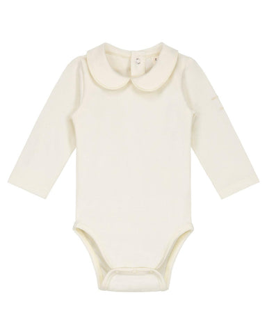 Little gray label baby girl nb baby onesie with collar in cream