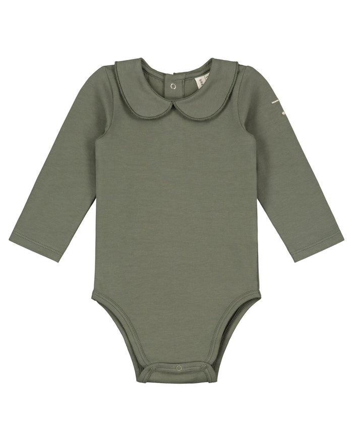 Little gray label baby girl baby onesie with collar in moss