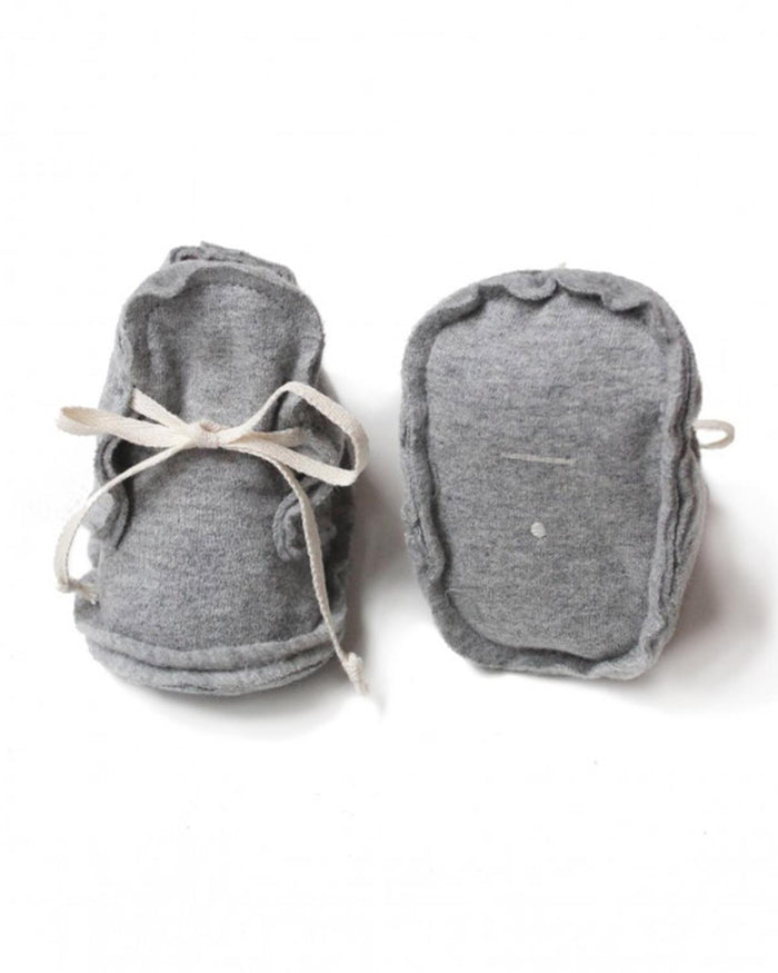 Little gray label baby accessories nb baby raw edged booties in grey melange