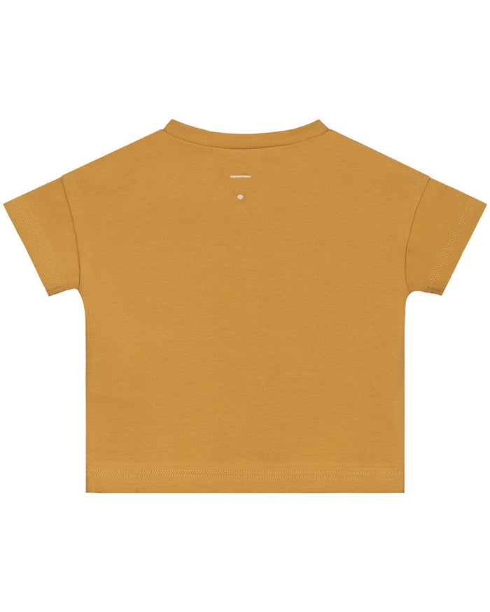 Little gray label baby boy baby short sleeve henley tee in mustard