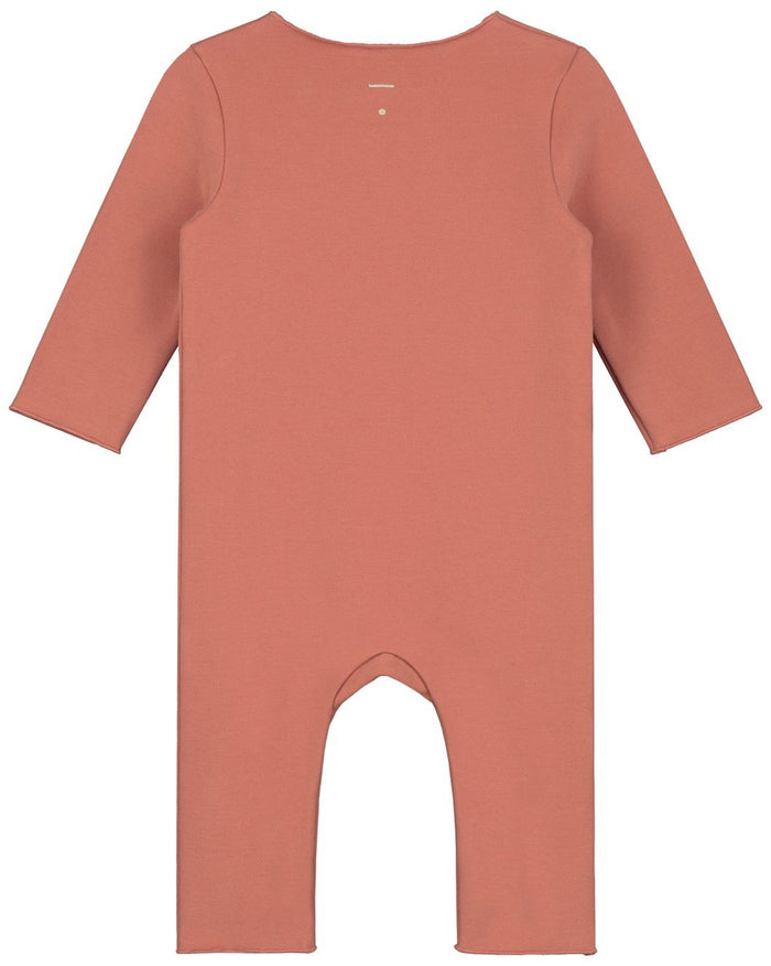 Little gray label baby boy baby suit with snaps in faded red