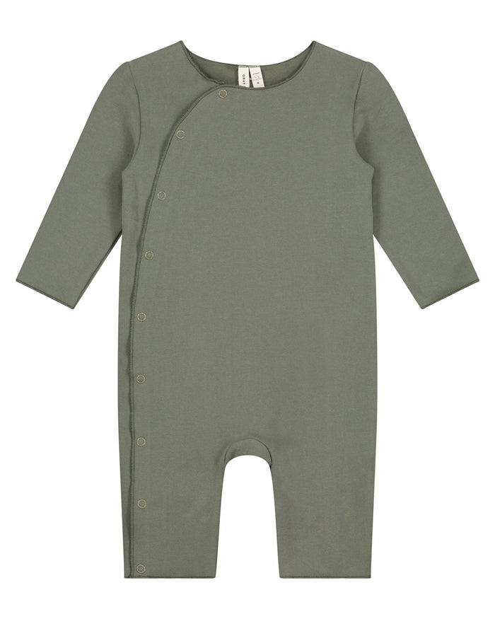 Little gray label baby boy baby suit with snaps in moss