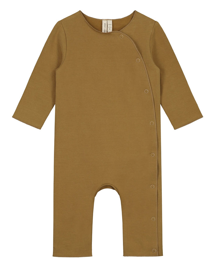 Little gray label baby girl baby suit with snaps in peanut
