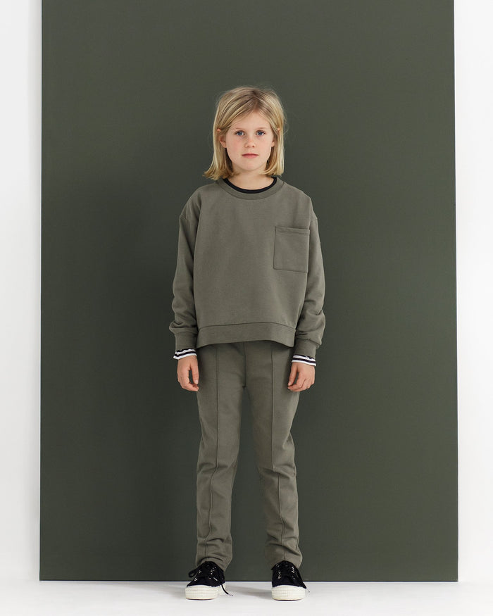 Little gray label baby boy boxy sweater in moss