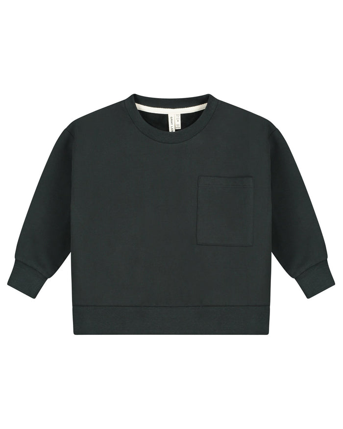 Little gray label baby boy boxy sweater in nearly black
