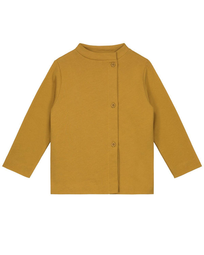 Little gray label boy 2-3 button cardigan in mustard