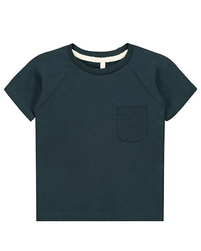Little gray label boy 12-18 classic crewneck tee in blue grey