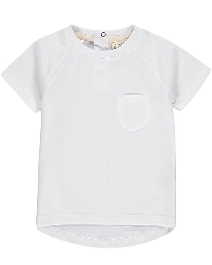 Little gray label boy 12-1 classic crewneck tee in white