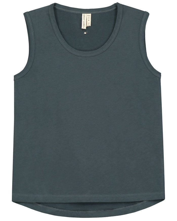Little gray label boy classic tank top in blue grey