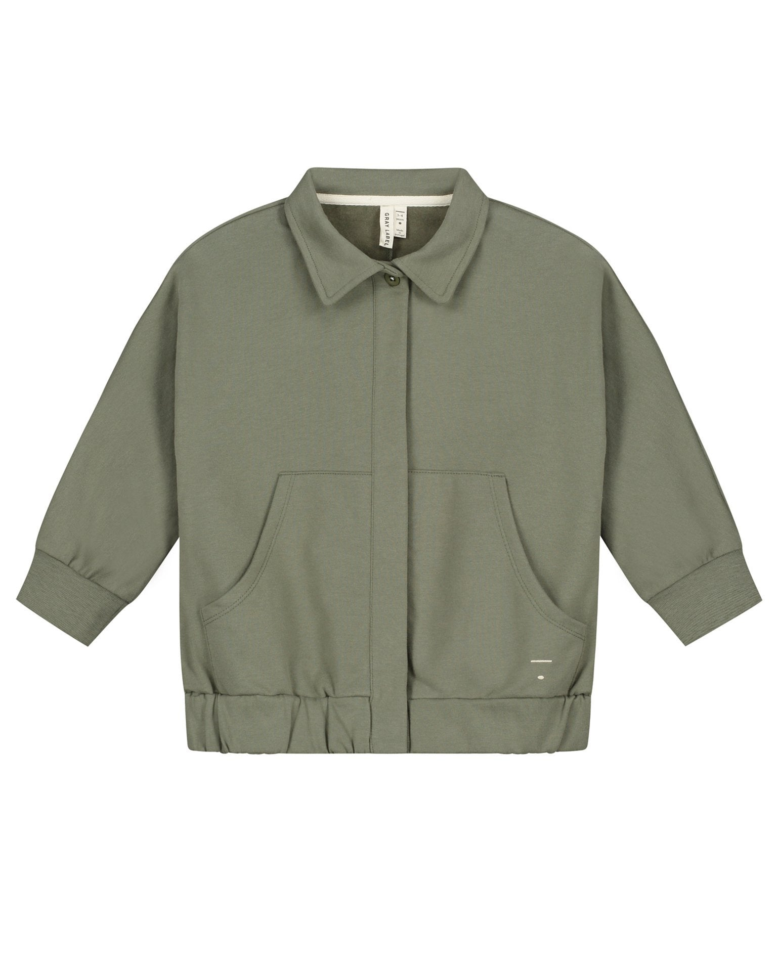 Little gray label baby boy collar jacket in moss