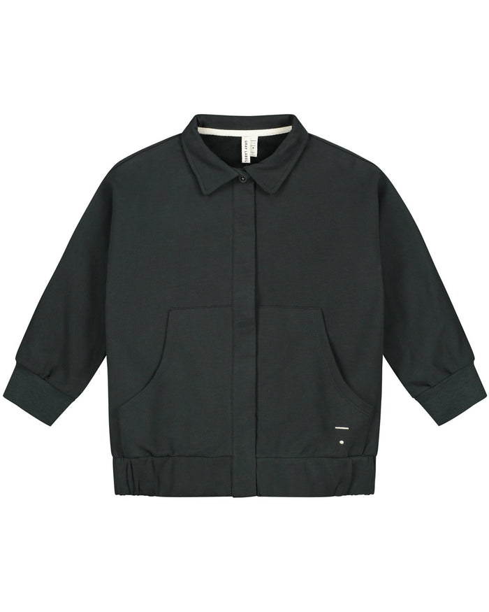 Little gray label baby boy collar jacket in nearly black