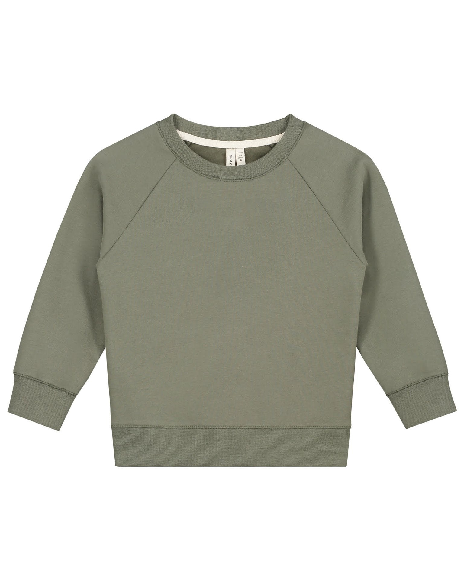 Little gray label baby boy crewneck sweater in moss