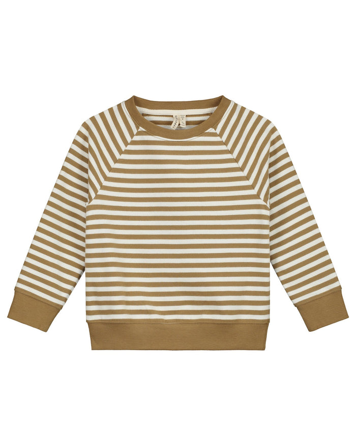 Little gray label girl crewneck sweater in peanut + off white