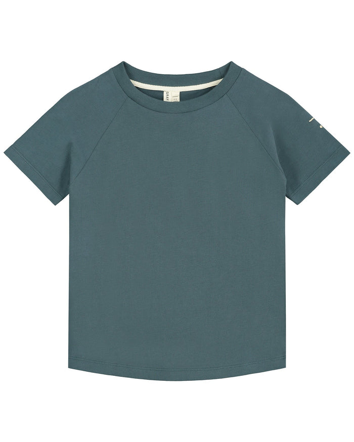 Little gray label boy crewneck tee in blue grey