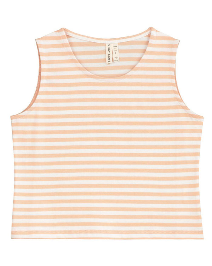 Little gray label baby girl 12-18 cropped tank top in pop + white stripe