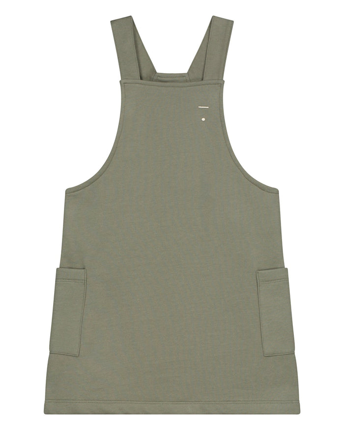 Little gray label baby girl dungaree dress in moss