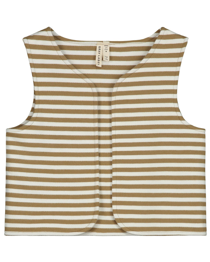 Little gray label girl gilet in peanut + off white