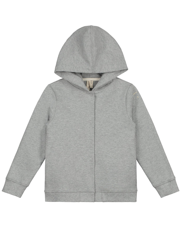 Little gray label girl hooded cardigan in grey melange