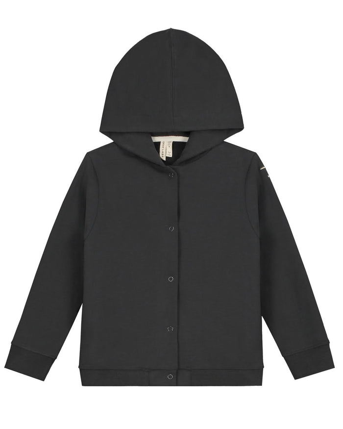 Little gray label girl hooded cardigan in nearly black