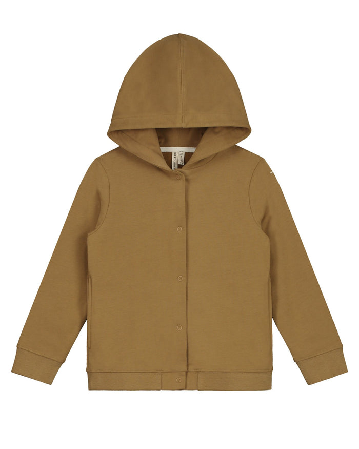Little gray label girl hooded cardigan in peanut