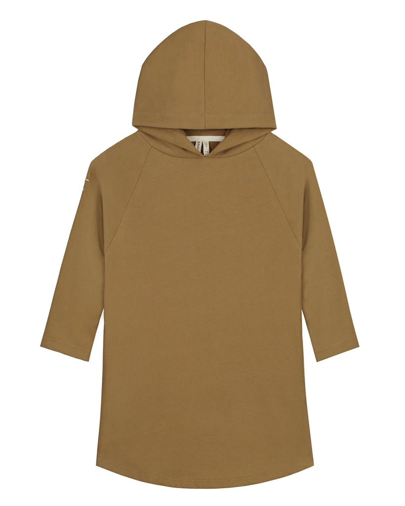 Little gray label girl hooded dress in peanut