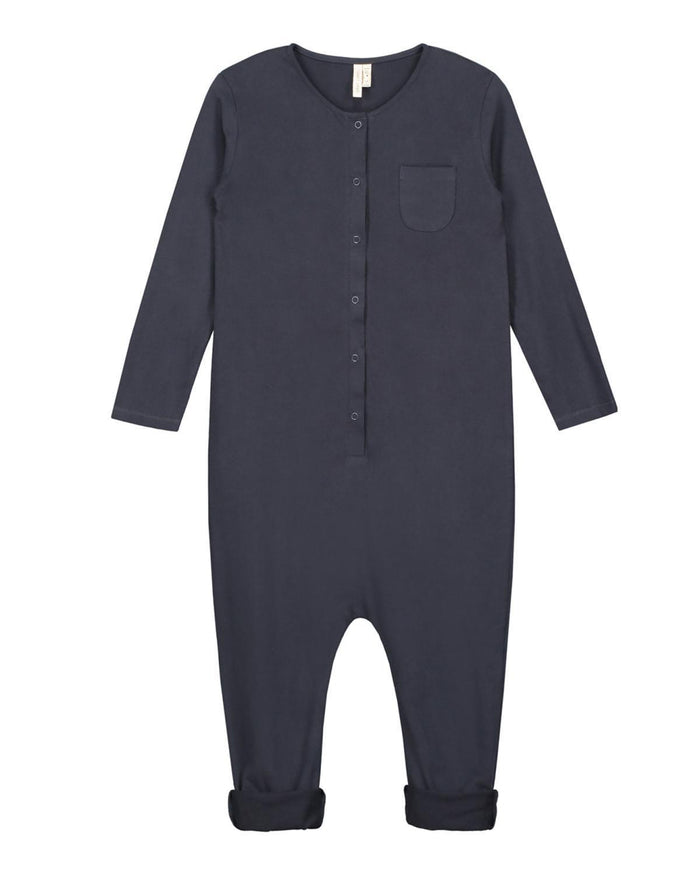 Little gray label boy 2 long sleeve playsuit in night blue
