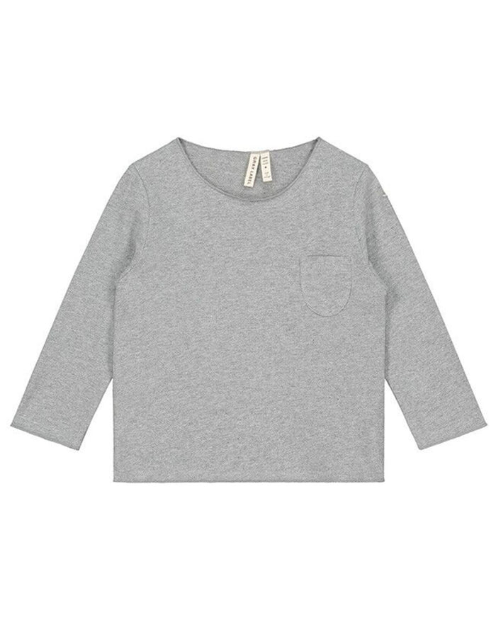 Little gray label boy 12-18 long sleeve pocket tee in grey melange