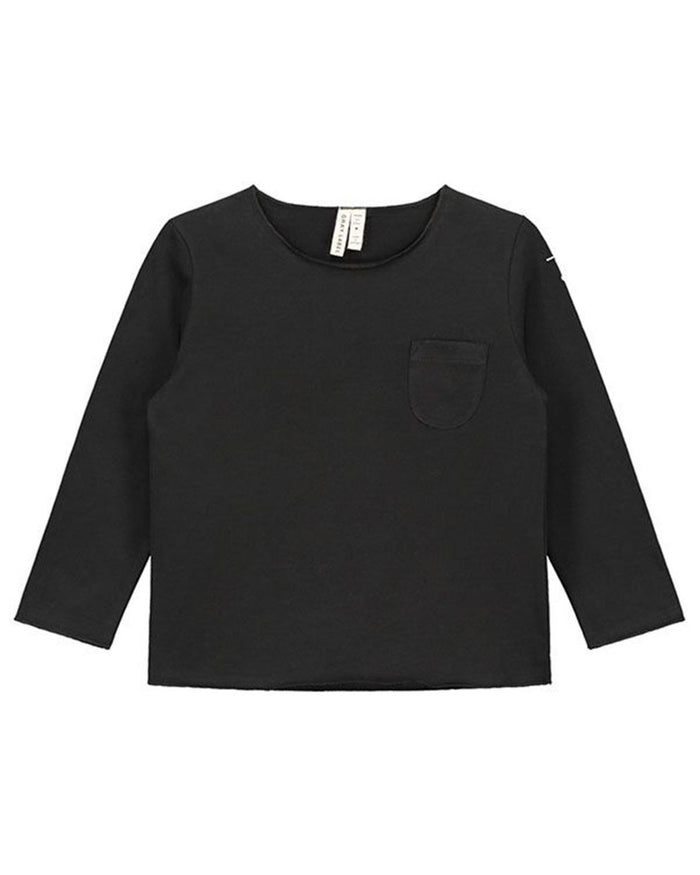 Little gray label boy 12-18 long sleeve pocket tee in nearly black