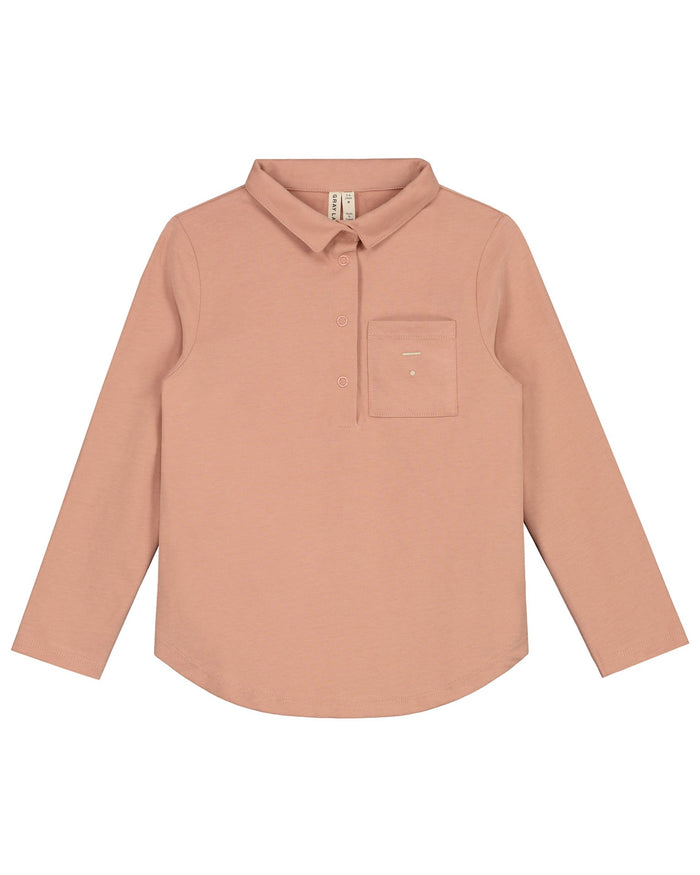 Little gray label girl long sleeve polo tee in rustic clay