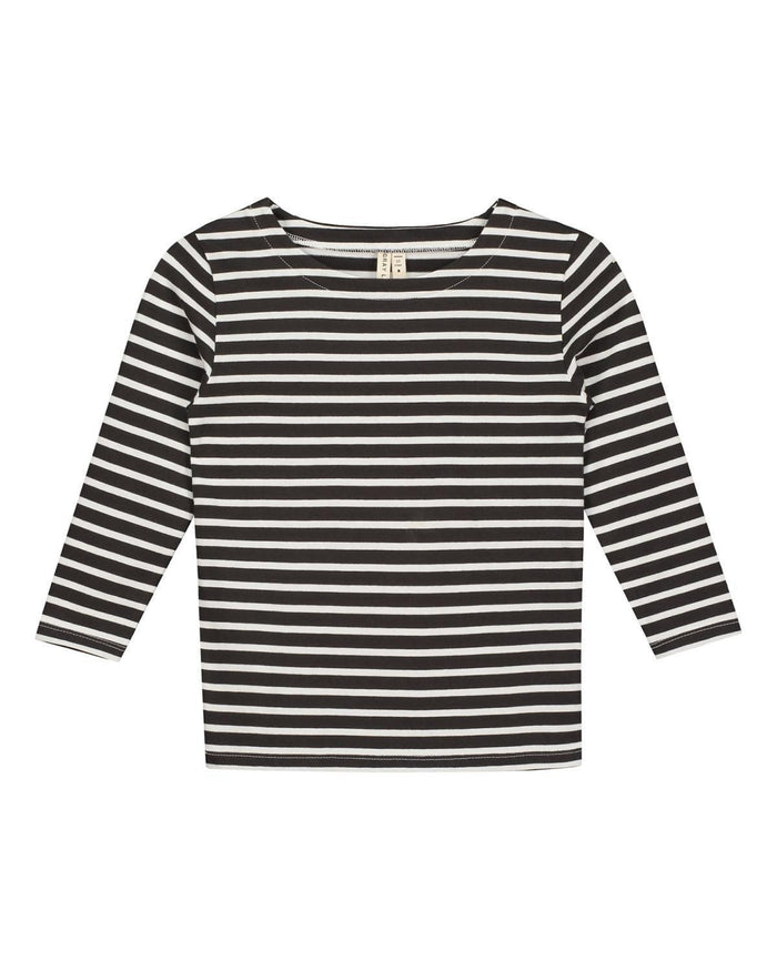 Little gray label boy 2-3 long sleeve striped tee in black + white stripe