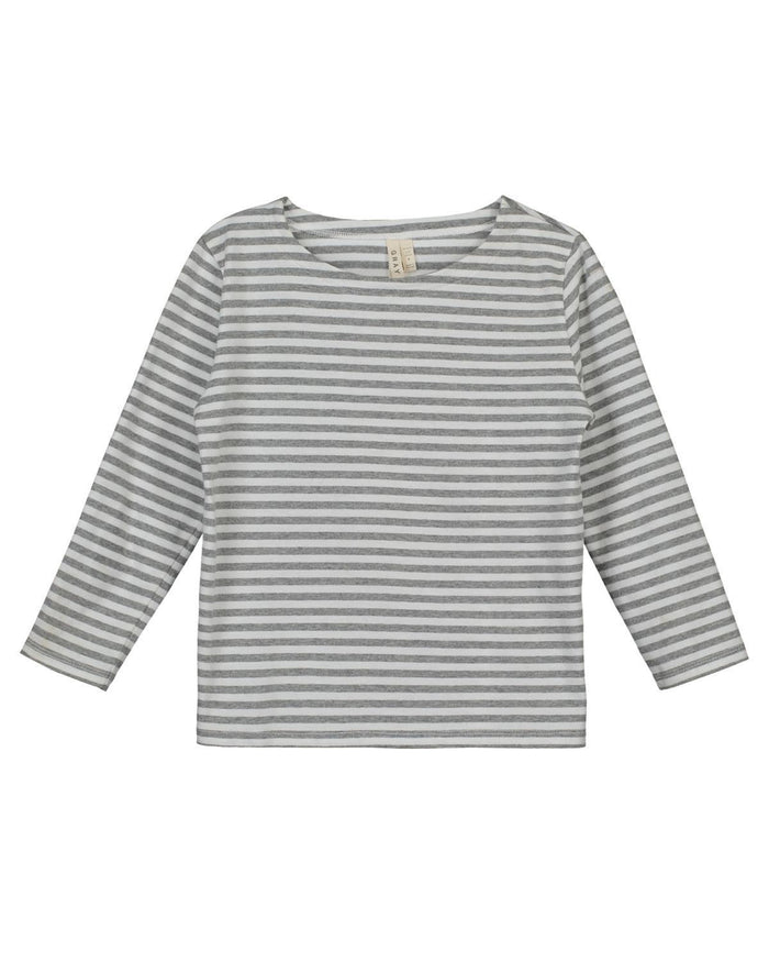 Little gray label boy 2-3 long sleeve striped tee in grey + white stripe