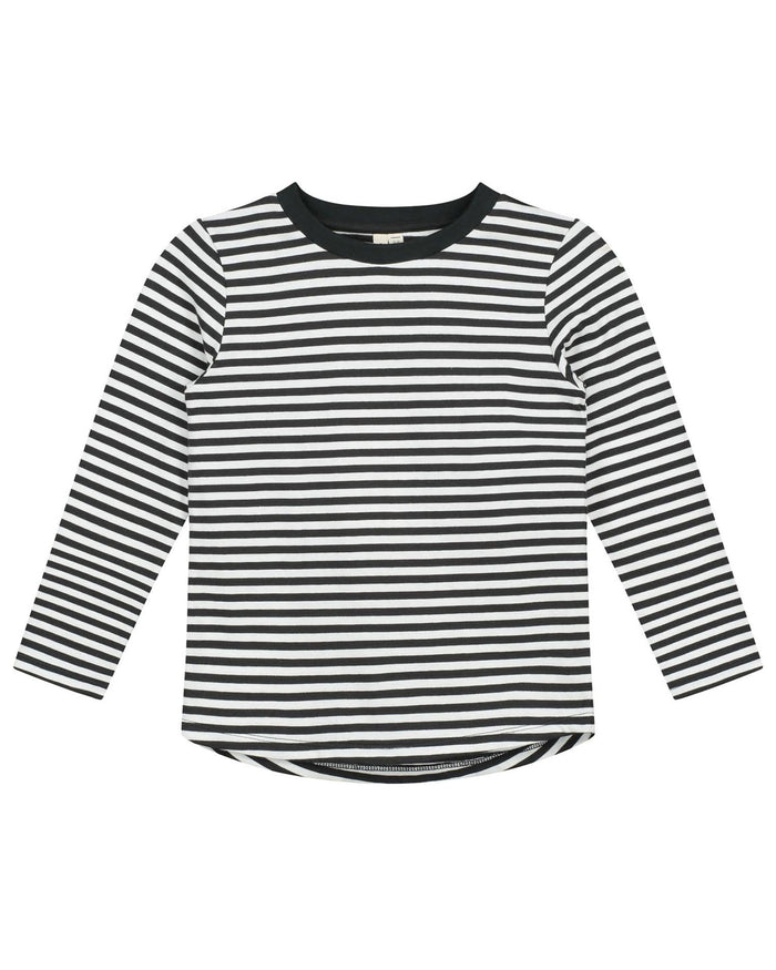 Little gray label girl long sleeve tee in nearly black + off white