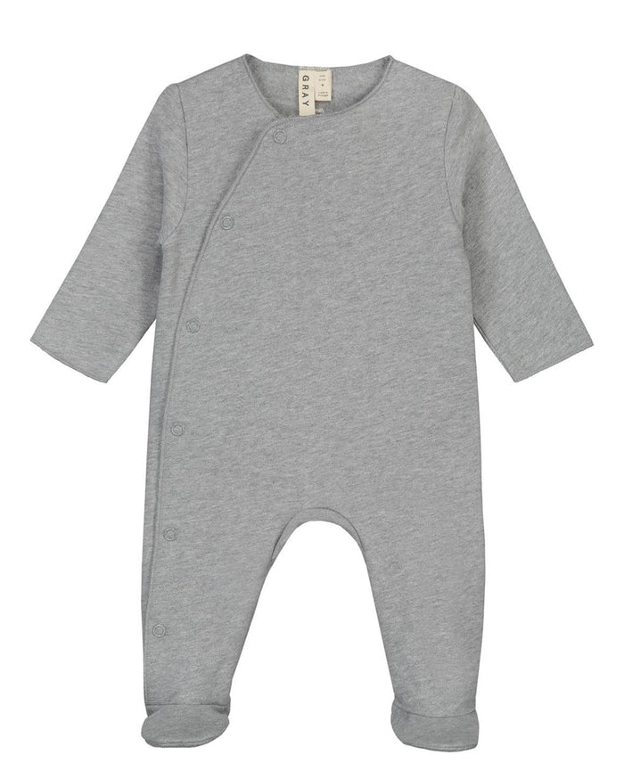 Little gray label layette nb newborn suit with snaps in grey melange