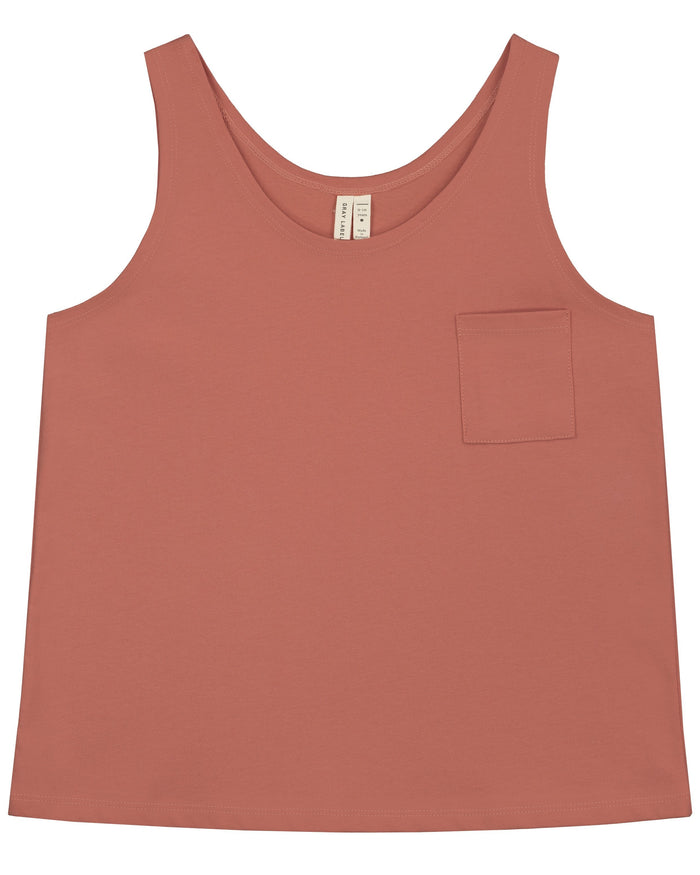Little gray label boy pocket tank top in faded red