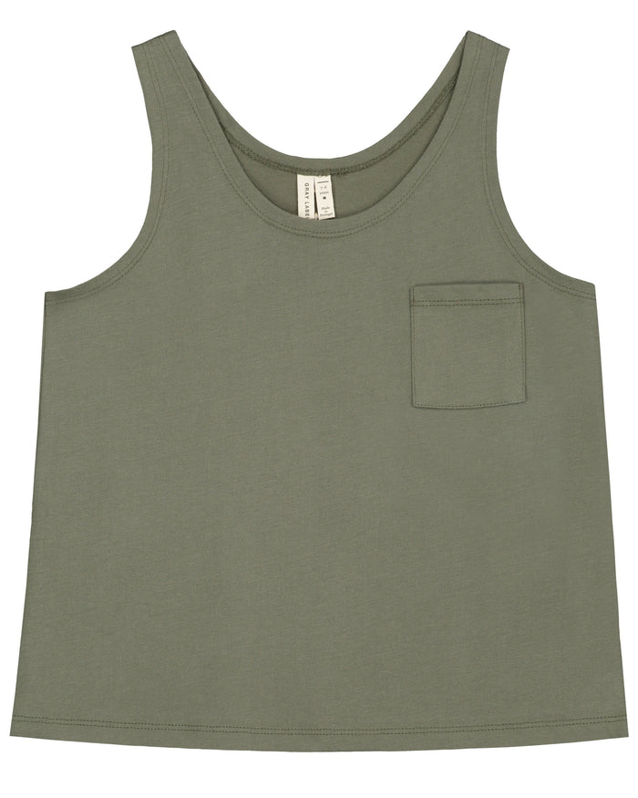Little gray label boy pocket tank top in moss