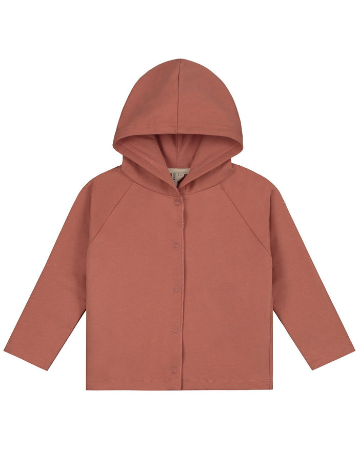 Little gray label boy relaxed hooded cardigan in faded red