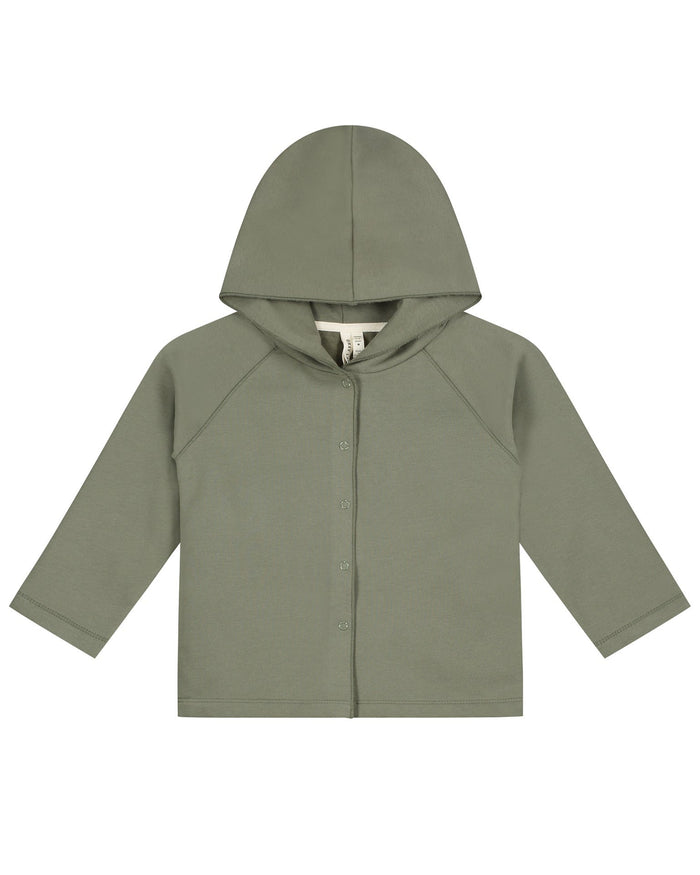 Little gray label baby boy relaxed hooded cardigan in moss