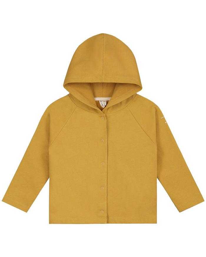 Little gray label boy relaxed hooded cardigan in mustard