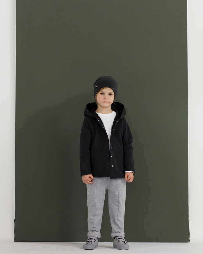 Little gray label baby boy relaxed hooded cardigan in nearly black