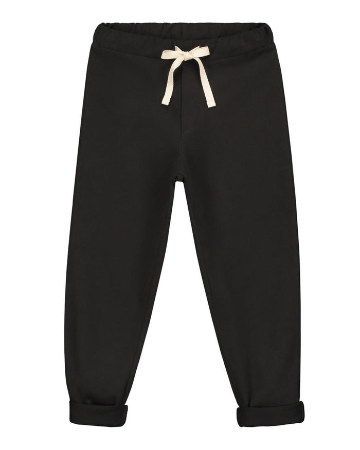 Little gray label boy 12-18 relaxed jersey pants in nearly black