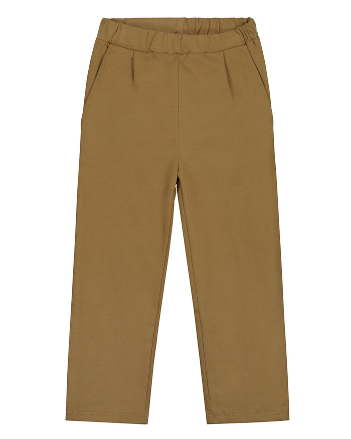 Little gray label girl relaxed pleated trousers in peanut